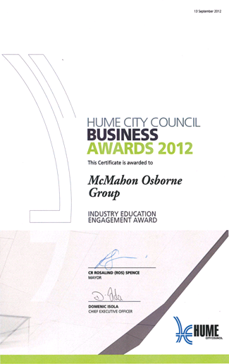 Hume Business Award