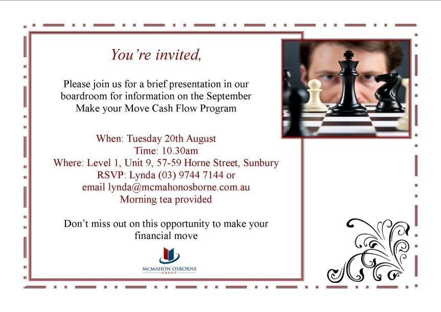 Invitation for Make your Move Program